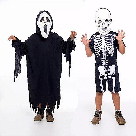 Fantasia Panico E Caveira Esqueleto Infantil C/ 2 Mascaras