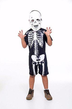 Fantasia Esqueleto Infantil E Camiseta Caveira Adulto