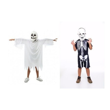 Fantasia Fantasma E Esqueleto Infantil Halloween C/ 2 Mascar
