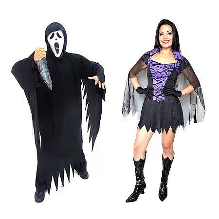 Fantasia Panico E Bruxa Morcego Adulto Halloween
