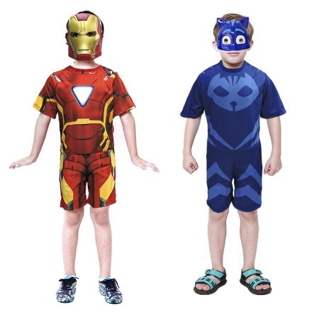 Fantasia Homem De Ferro E Menino Gato C/ 2 Mascaras