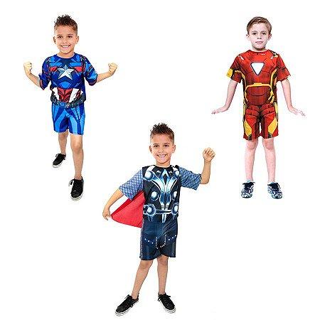 Fantasia Homem De Ferro Thor E Capitao America Sem Mascara