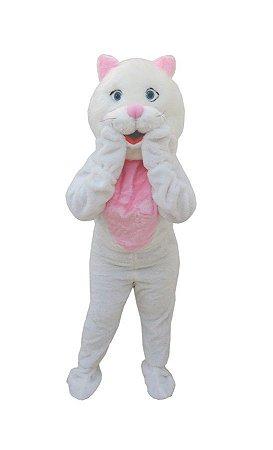 Fantasia Mascote Gata Branca Pelucia Adultoboneco De Vestir
