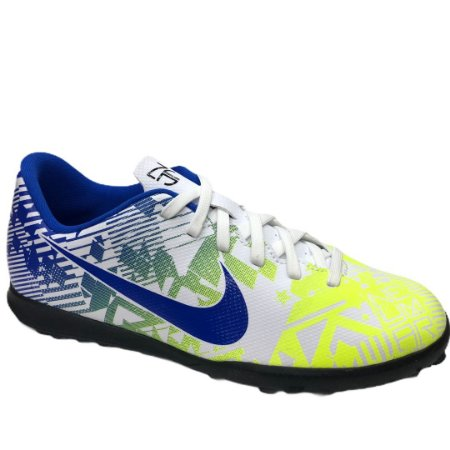 Tênis Infantil Nike Jr Vapor 13 Club Njr Tf Society - CV9353-104 - Branco-Azul
