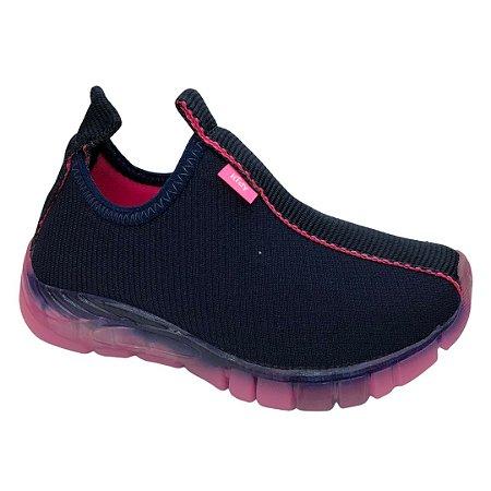 Tênis Infantil Menina Kidy Flex Light - 020-1132-2207 - Marinho-Pink Neon