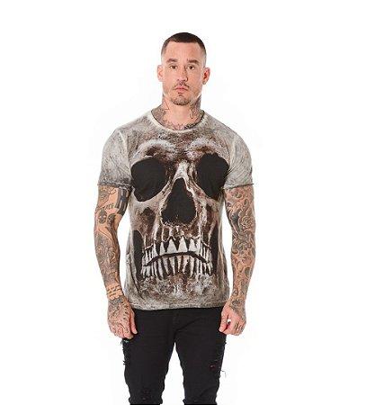 Camiseta Algodão Slim Caveira Frontal Preto