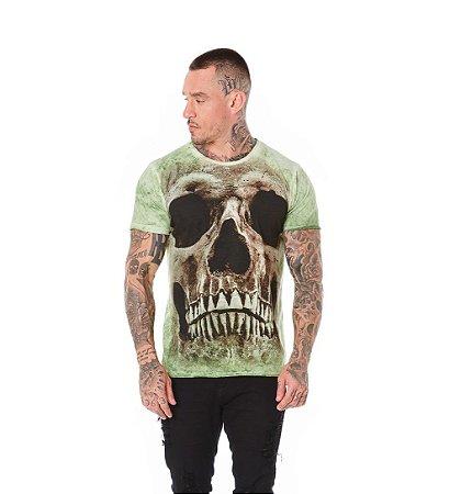 Camiseta Algodão Slim Caveira Frontal Verde