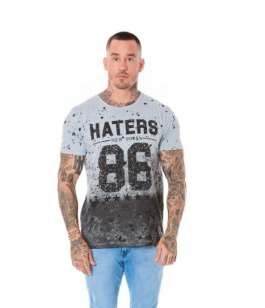 Camiseta Algodão Slim Haters 86 Cinza Claro