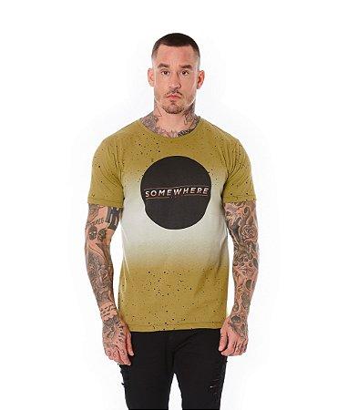 Camiseta Algodão Slim Full Somewhere Caqui
