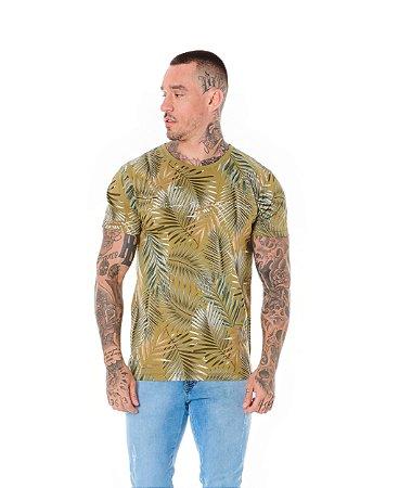 Camiseta Algodão Slim Corrosão Folhagem Get Verde Oliva