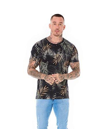 Camiseta Algodão Slim Corrosão Folhagem Get Preto