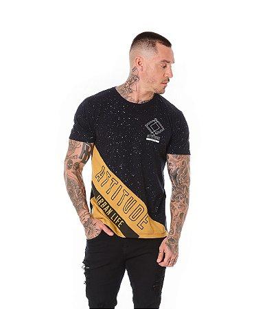 Camiseta Algodão Slim Recorte Attitude Preto