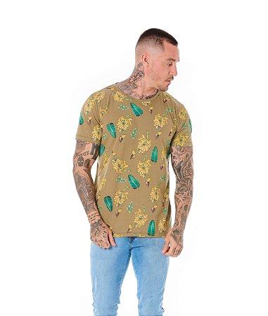 Camiseta Algodão Slim Banana Caqui
