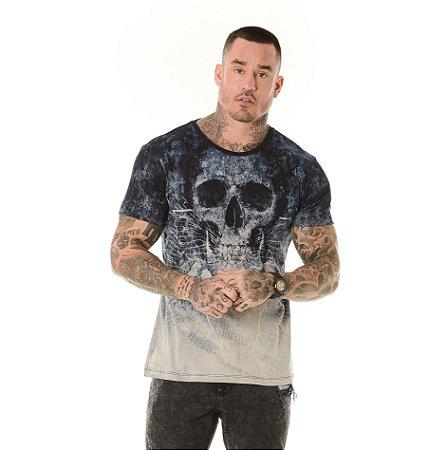 Camiseta Algodão Slim Full Corrosão Caveira Marinho