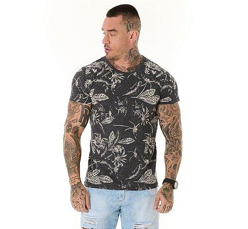 Camiseta Algodão Slim Full Corrosão Folhagens Mescla Escuro