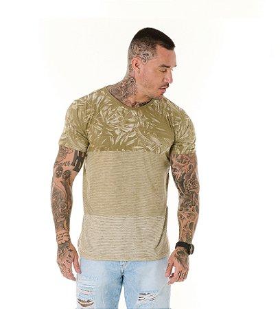 Camiseta Algodão Slim Full Listras+Folhagens Caqui