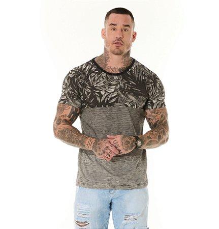 Camiseta Algodão Slim Full Listras+Folhagens Preto