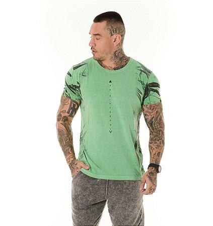 Camiseta Algodão Slim Estonada Full Be Diferent Verde