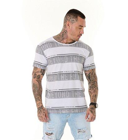 Camiseta Algodão Slim Listras Beyond The Future Branca