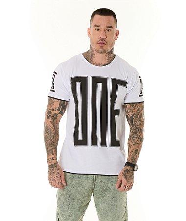 Camiseta Algodão Slim Estampada One Branca