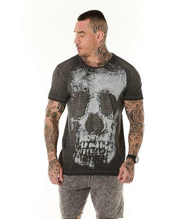 Camiseta Algodão Slim Vintage Full Textura + Caveira Chumbo