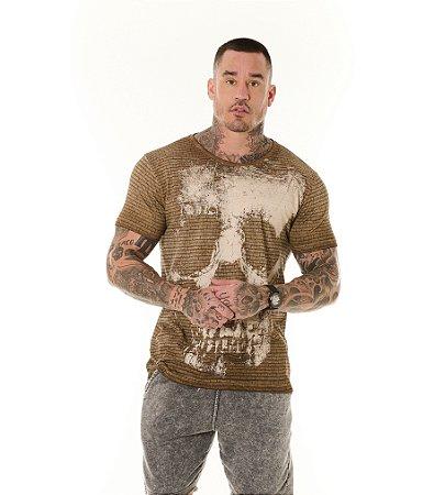 Camiseta Algodão Slim Vintage Full Textura + Caveira Ocre