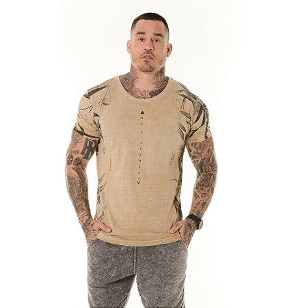 Camiseta Algodão Slim Estonada Full Be Diferent Ocre