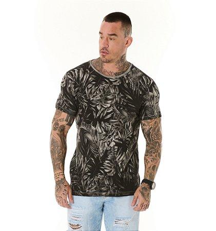 Camiseta Algodão Slim Vintage Full Folhagens Cinza