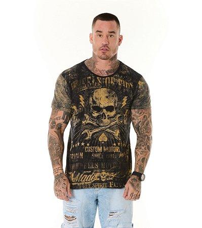 Camiseta Algodão Slim Full Corrosão Caveira Enferrujada Preto