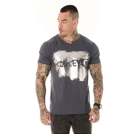 Camiseta Algodão Slim Concept Foil Chumbo