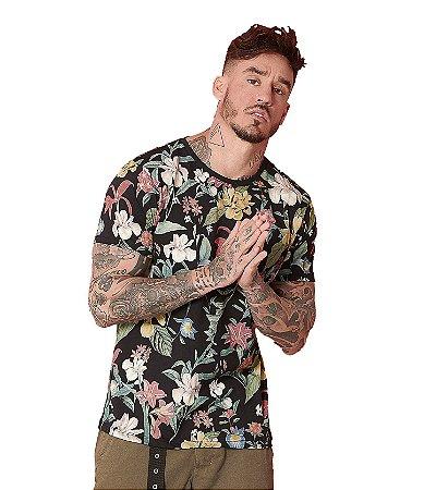 Camiseta Algodão Flores Coloridas