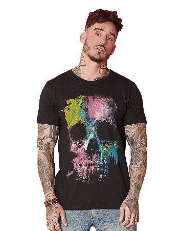 Camiseta Algodão Slim Caveira Cromia