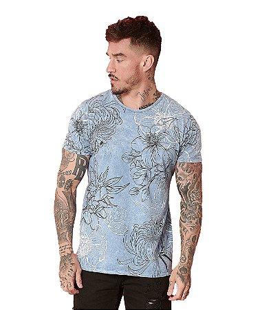 Camiseta Algodão Slim Floral