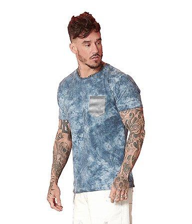 Camiseta Algodão Slim Tingimento A Seco Com Bolso