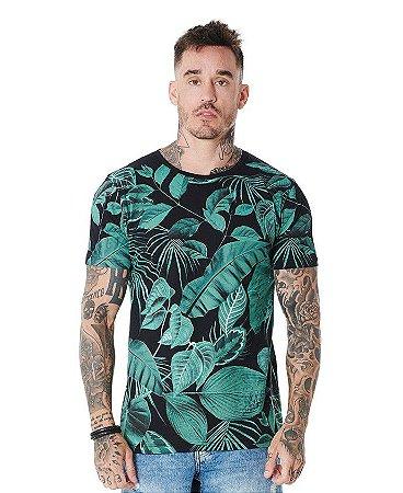 Camiseta Algodão Slim Corrosão Folhas Verdes