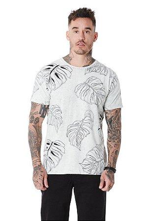Camiseta Algodão Slim Folhas Sky