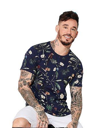 Camiseta Algodão Slim Tucanos Com Flores