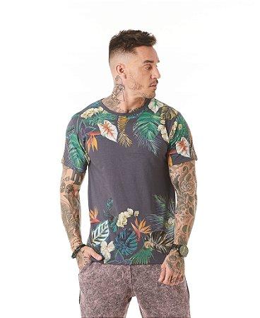 Camiseta Algodão Slim Estampa de Folhas Superior e Inferior