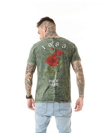 Camiseta Algodão Slim Dividido Silk Rosa