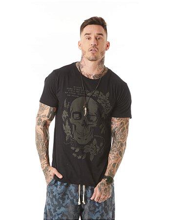 Camiseta Algodão Slim Caveira Gel Expansivo