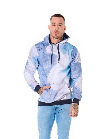 Blusão Canguru Estampa Aquarela Azul