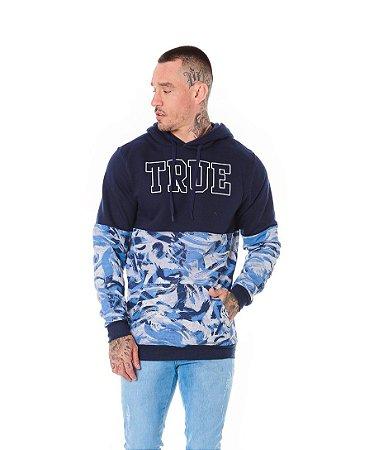Blusão Canguru Recorte Camuflado True Marinho