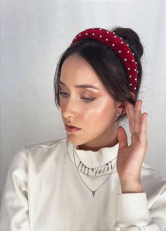Tiara Blair - Velvet Vermelho Bordada