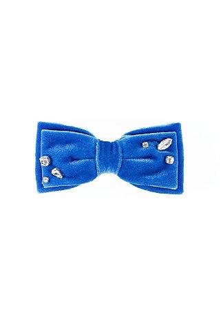 Laço Camila - Velvet Azul Bordado