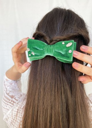 Laço Camila - Velvet Verde Bordado