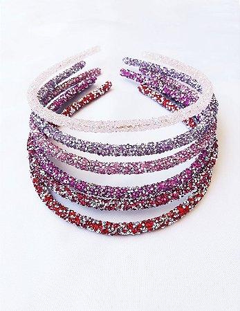 Tiara Purpurina Tons de Rosa, Lilás e Vermelho - Escolha suas favoritas