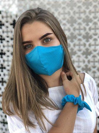 Kit Stay Safe - Máscara + Scrunchie - Azul