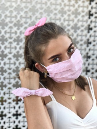 Kit Stay Safe - Máscara + Scrunchie - Zigzag Rosa Claro