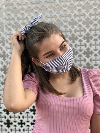 Kit Stay Safe - Máscara + Scrunchie - Listrado Navy
