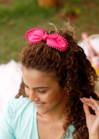Scrunchie Pompom - Rosa Pink